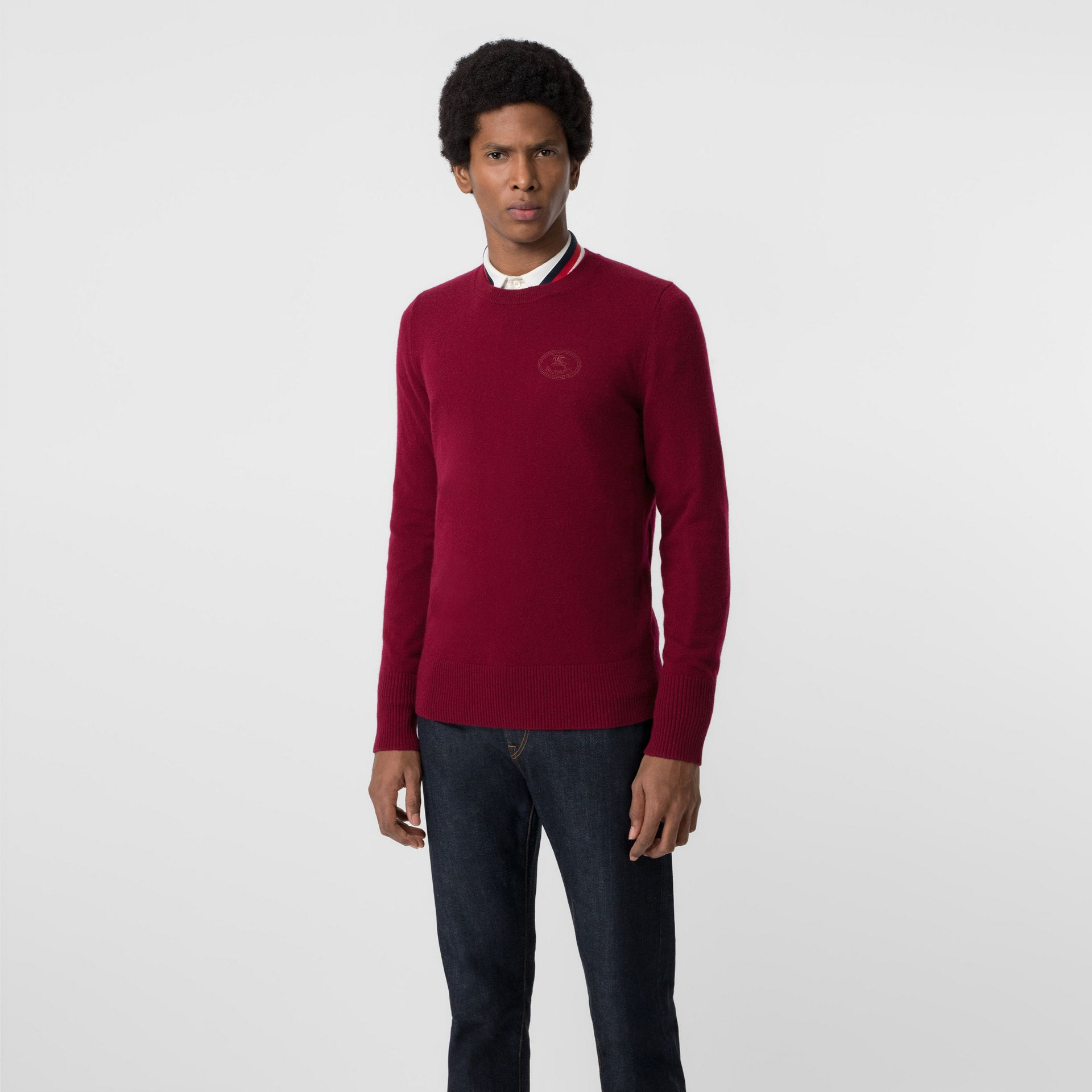 Embroidered Logo Cashmere Sweater in Claret - Men | Burberry - gallery image 4