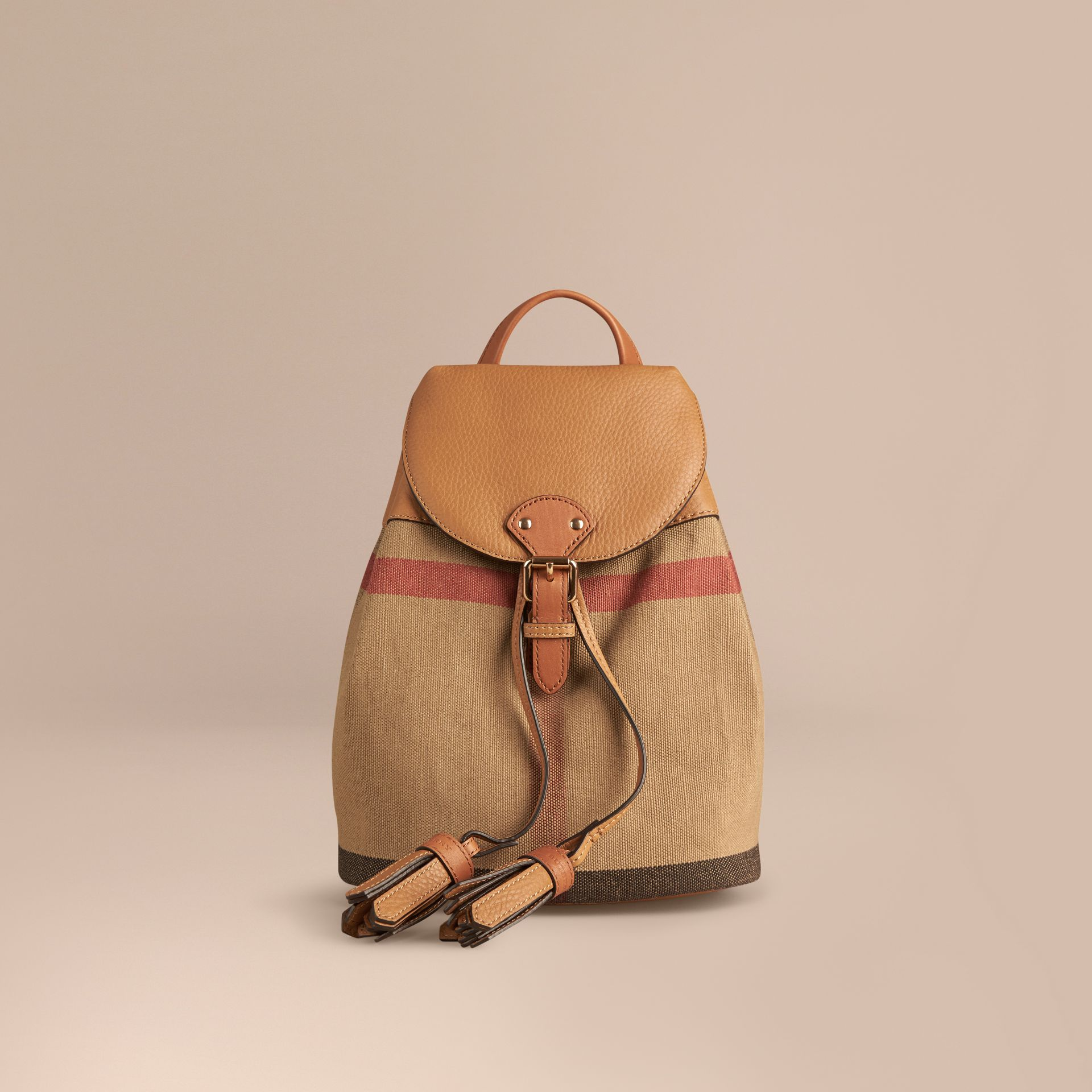 Canvas Check Backpack in Sand | Burberry Australia - gallery image 1