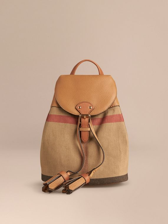 Canvas Check Backpack in Sand