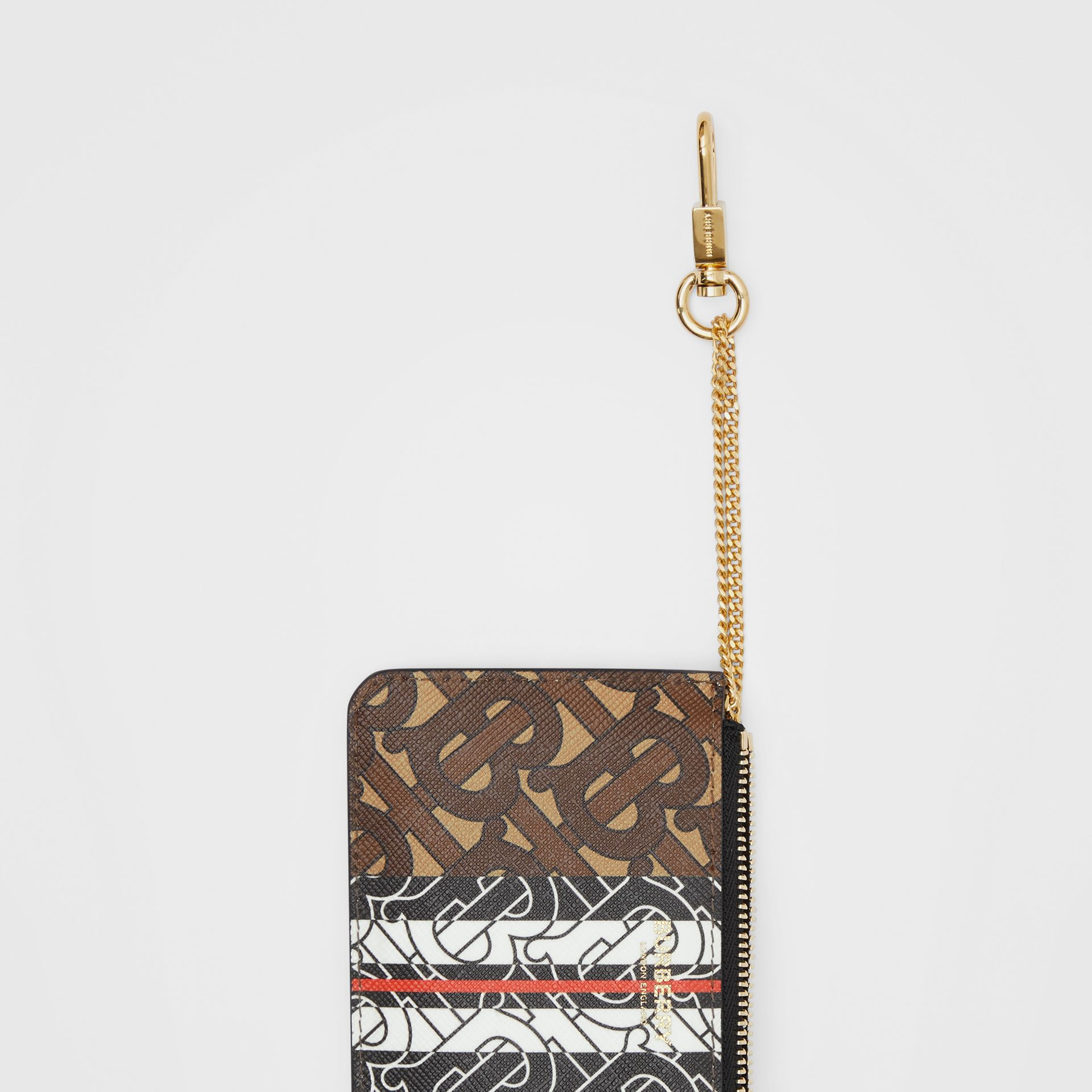 Monogram Stripe E-canvas Zip Coin Case in Bridle Brown - Women | Burberry - gallery image 1
