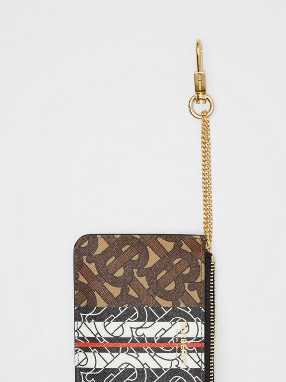 Monogram Stripe E-canvas Zip Coin Case in Bridle Brown - Women | Burberry - cell image 1