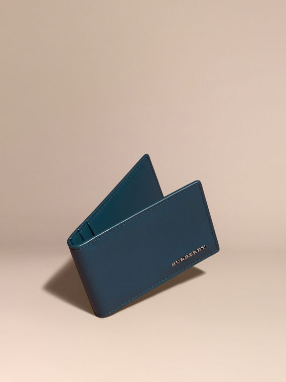 London Leather ID Wallet in Mineral Blue