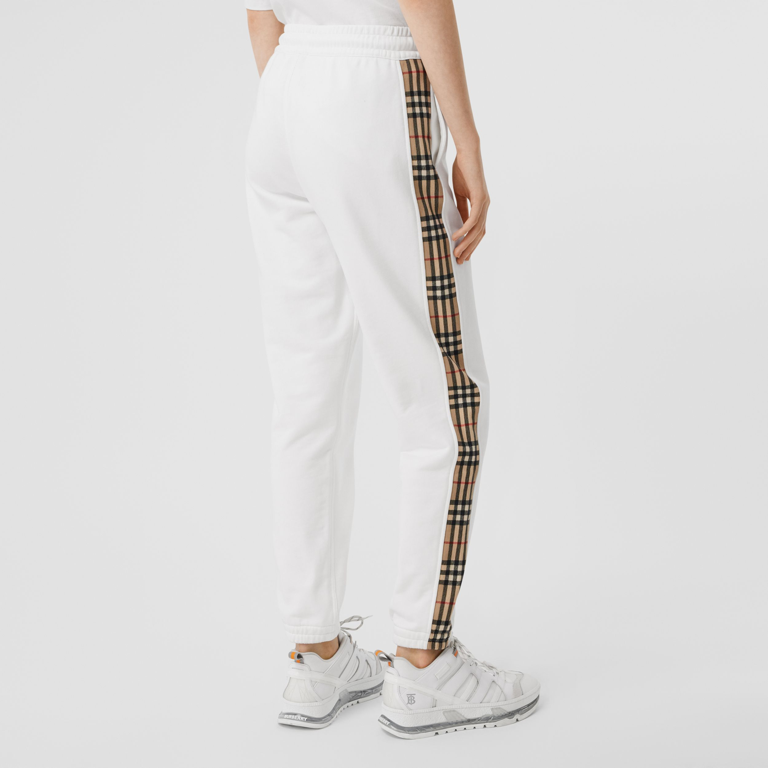 Vintage Check Detail Cotton Jogging Pants in White - Women | Burberry - 3
