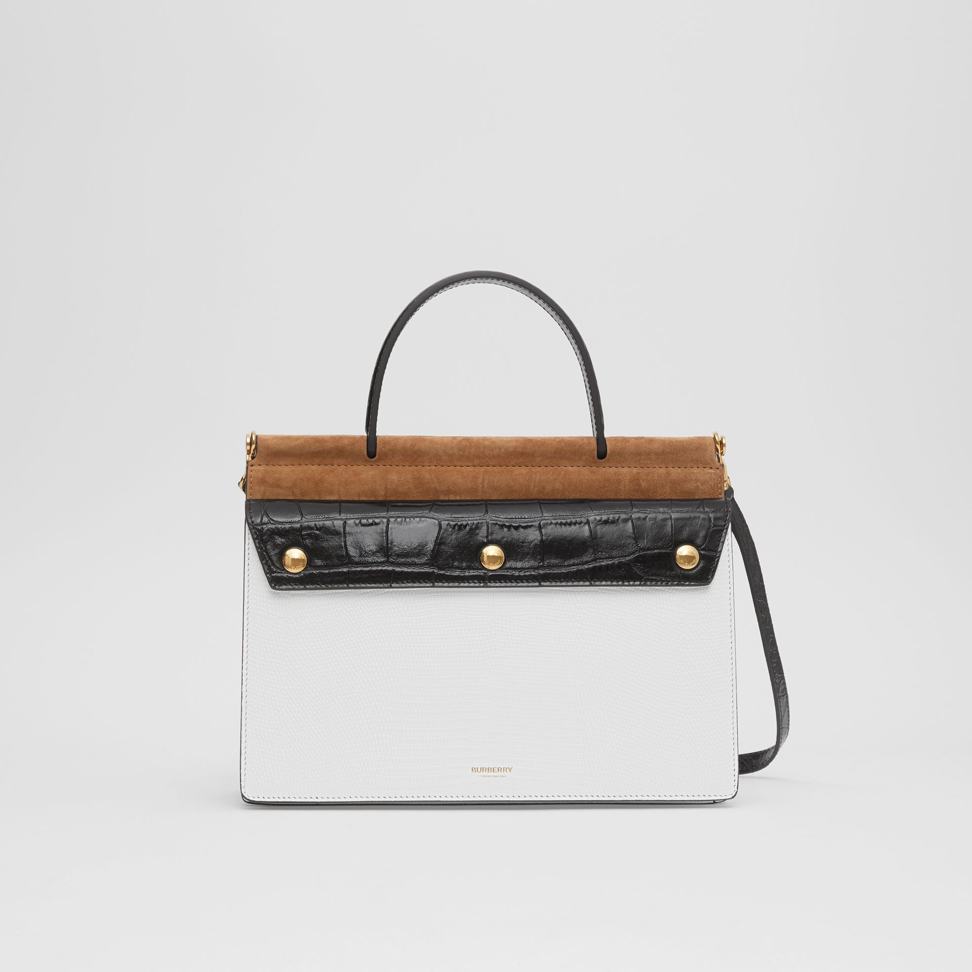 Small Deerskin Title Bag with Pocket Detail in White/maple - Women | Burberry Australia - gallery image 0
