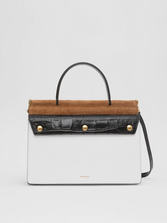 Small Deerskin Title Bag with Pocket Detail in White/maple