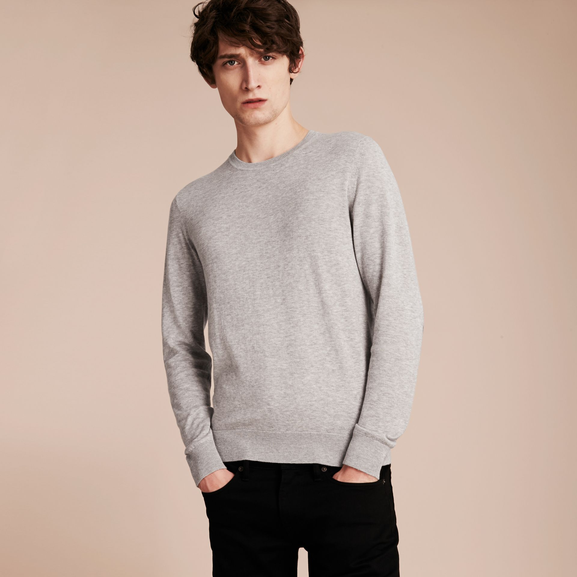 Check Trim Cashmere Cotton Sweater in Pale Grey Melange - gallery image 6