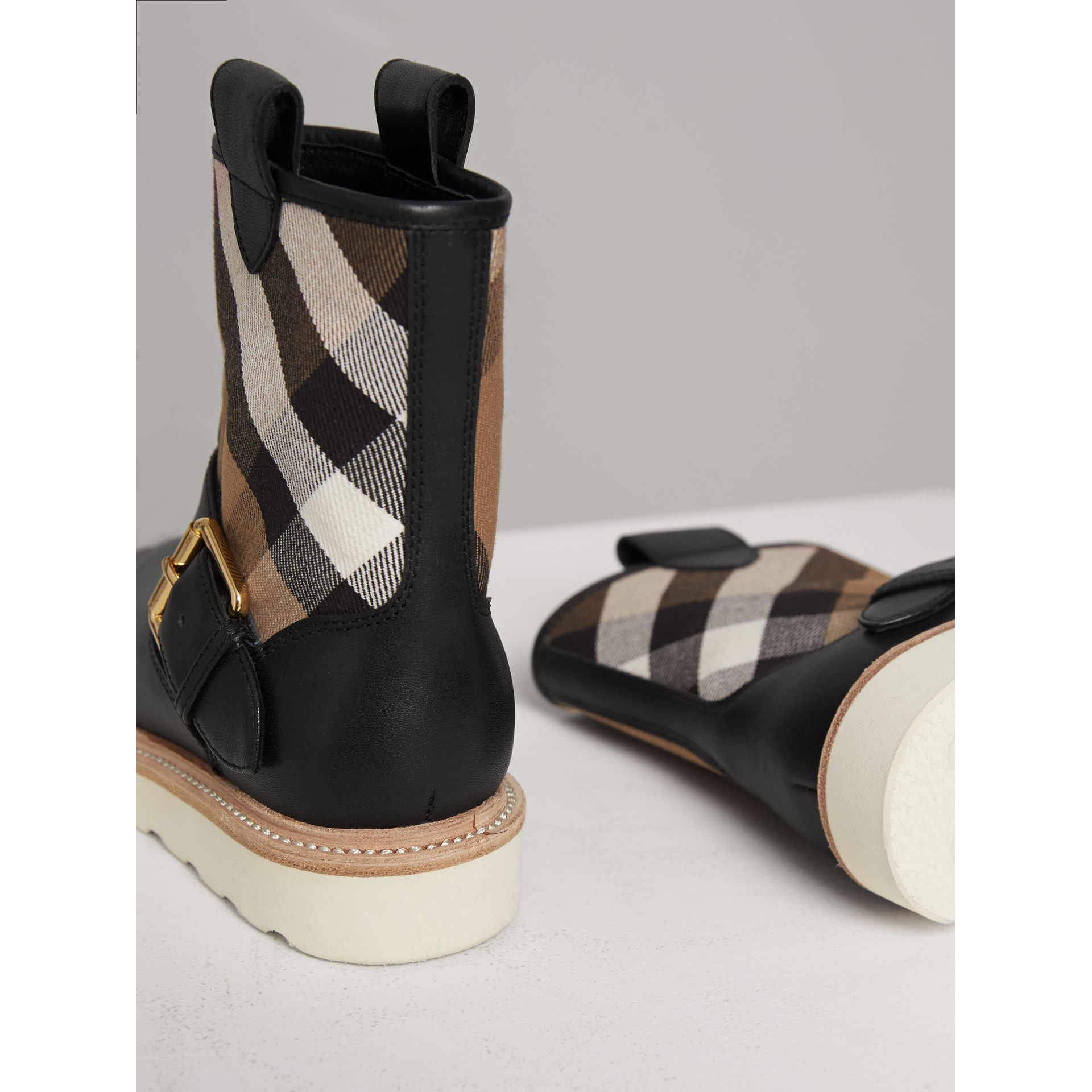 House Check and Leather Weather Boots in Classic | Burberry Canada - gallery image 3