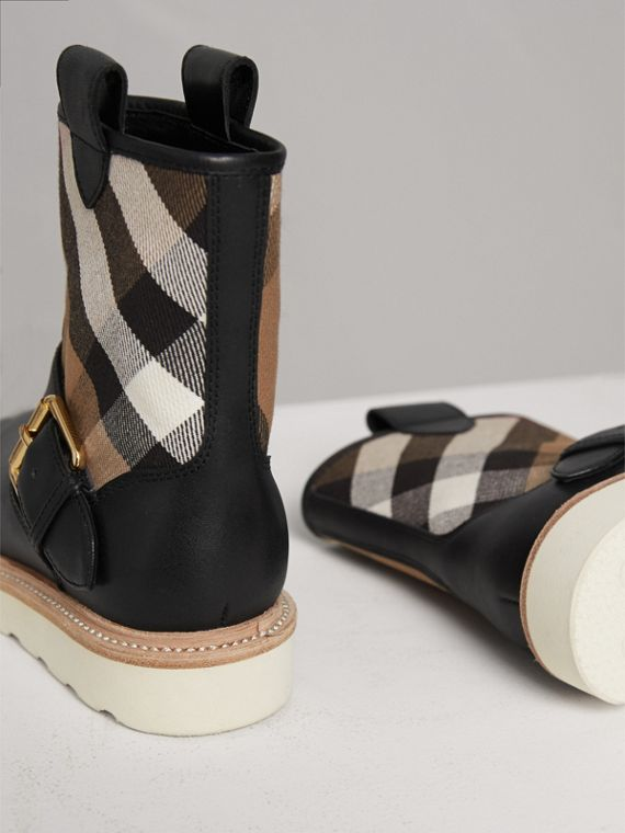 House Check and Leather Weather Boots in Classic | Burberry - cell image 2