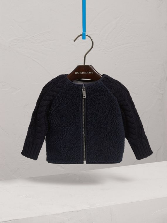 Cable Knit Wool Cashmere and Faux Shearling Jacket in Navy | Burberry Australia - cell image 2