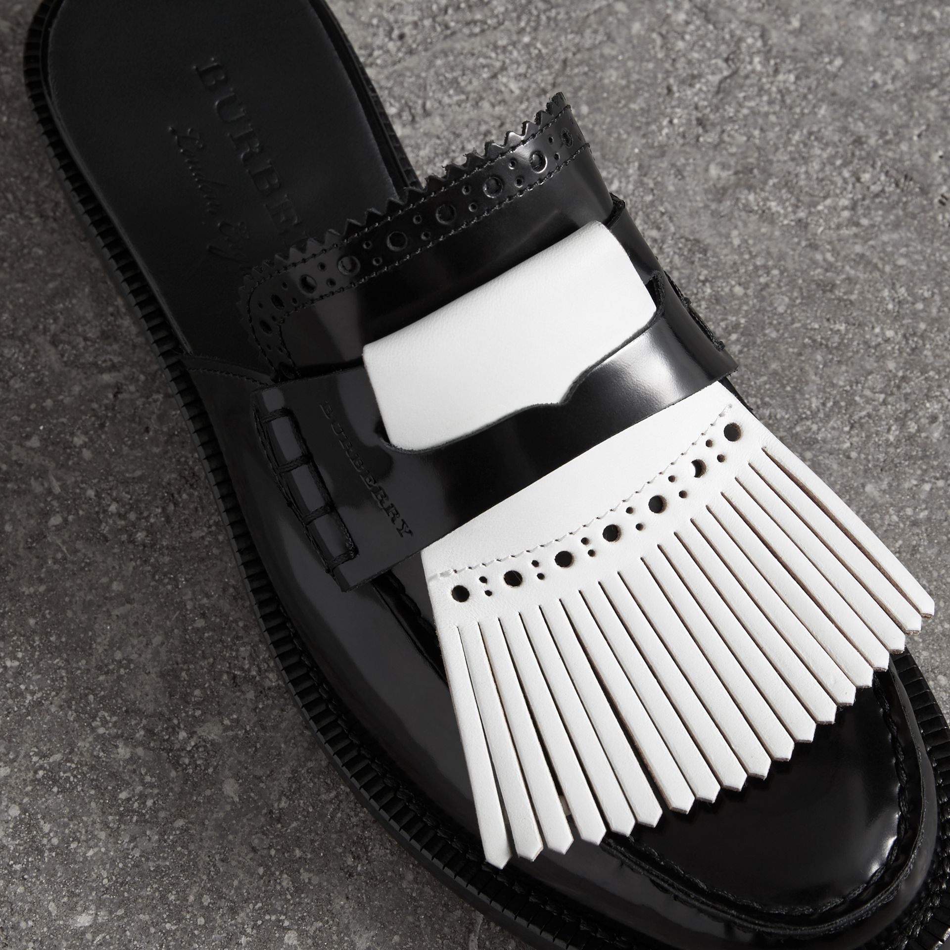 Contrast Kiltie Fringe Leather Mules in Black - Women | Burberry - gallery image 1