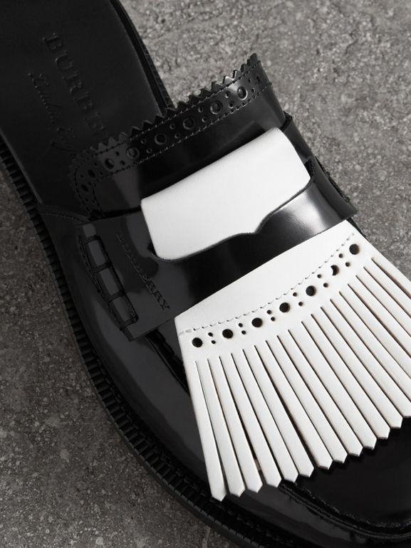 Contrast Kiltie Fringe Leather Mules in Black - Women | Burberry Australia - cell image 1