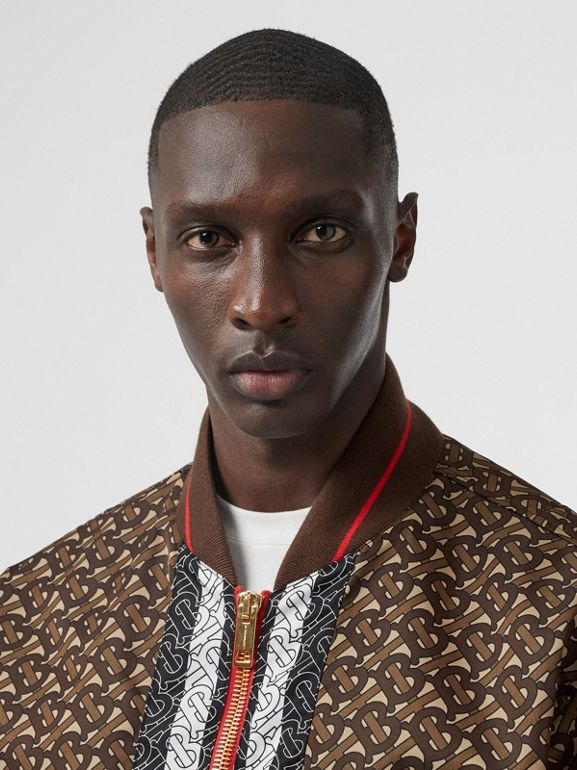 Monogram Stripe Print Nylon Bomber Jacket in Bridle Brown - Men | Burberry - cell image 1