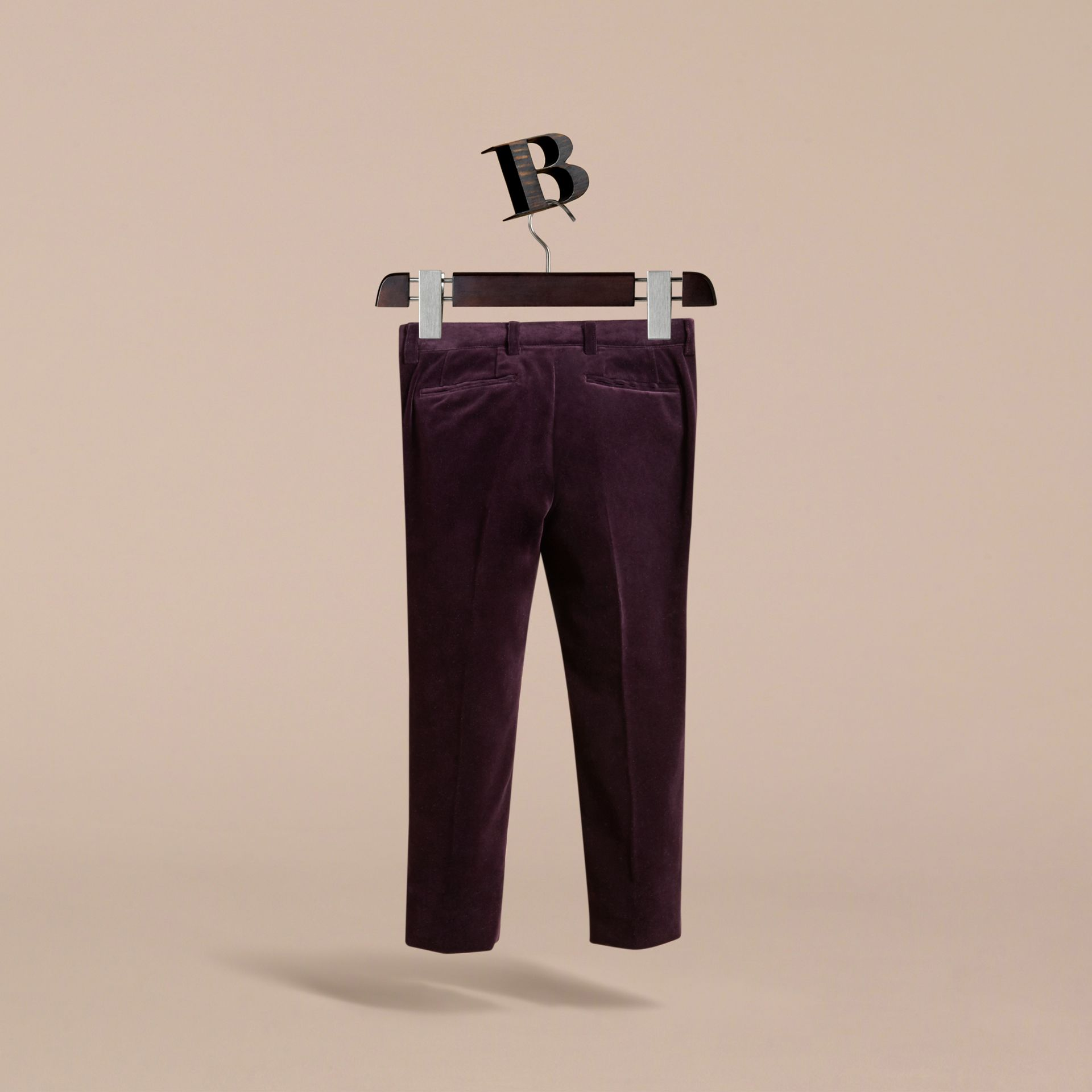 Tailored Velvet Tuxedo Trousers in Black Currant - Boy | Burberry - gallery image 4