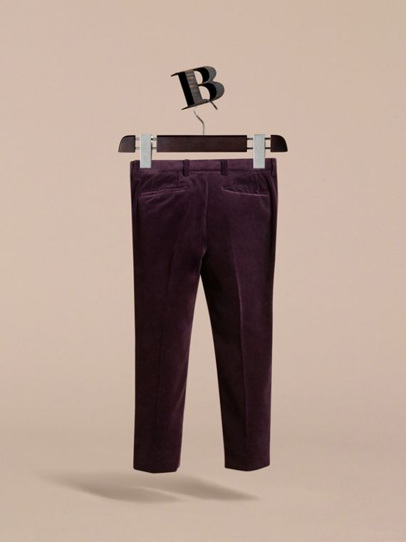 Tailored Velvet Tuxedo Trousers in Black Currant - Boy | Burberry Australia - cell image 3