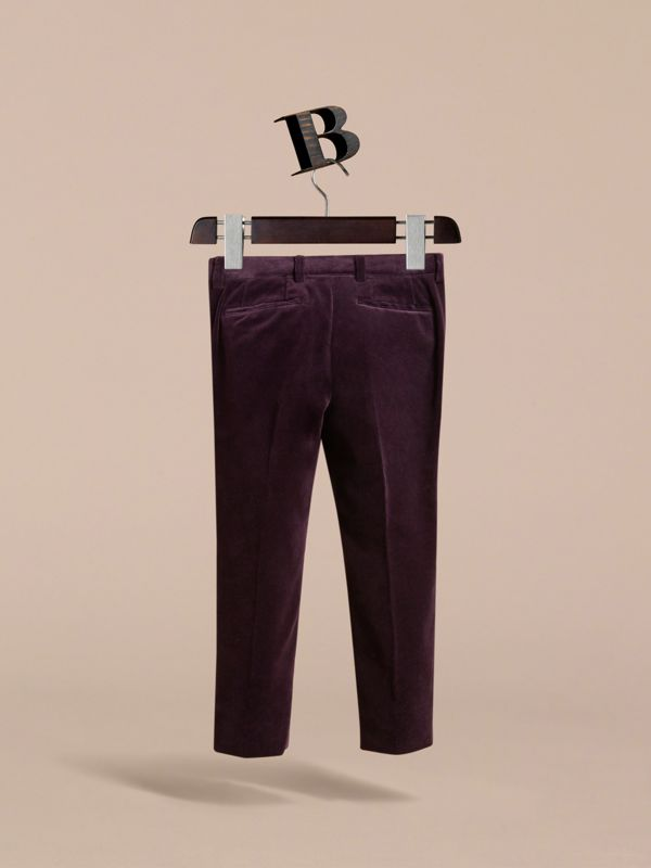 Velvet Tuxedo Trousers in Black Currant | Burberry - cell image 3