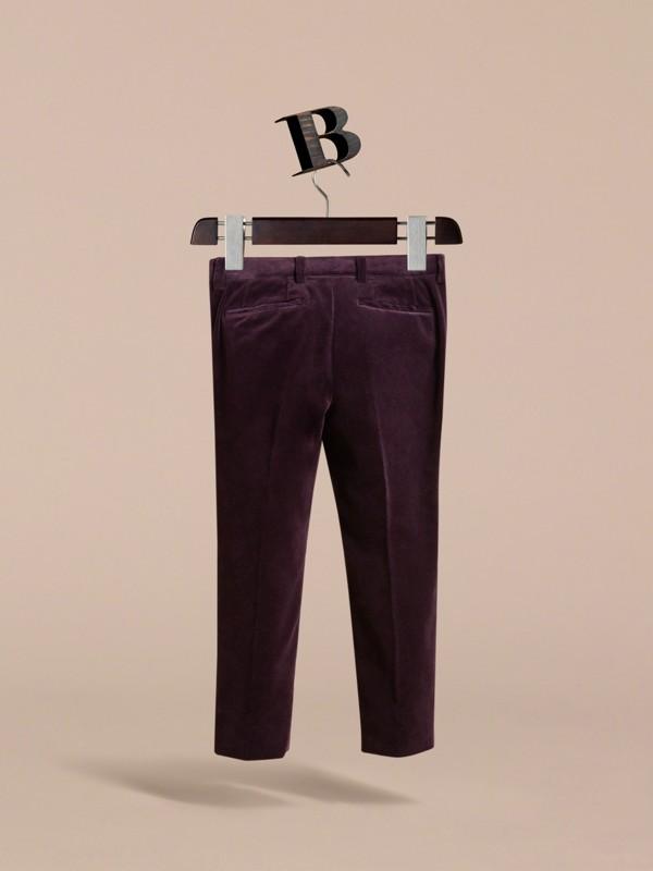 Velvet Tuxedo Trousers in Black Currant   Burberry - cell image 3