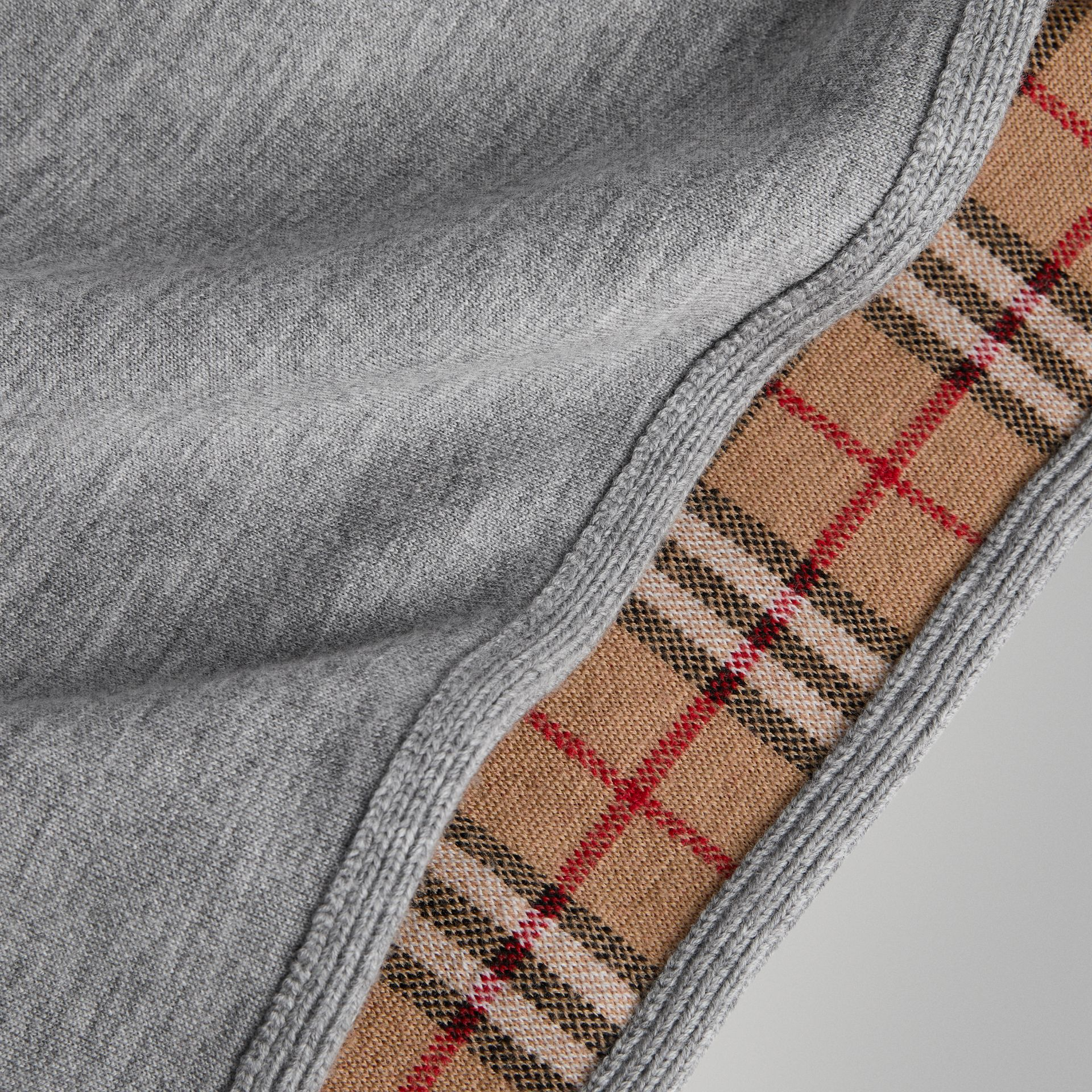 Reversible Check Merino Wool Jacquard Poncho in Grey Melange | Burberry - gallery image 1
