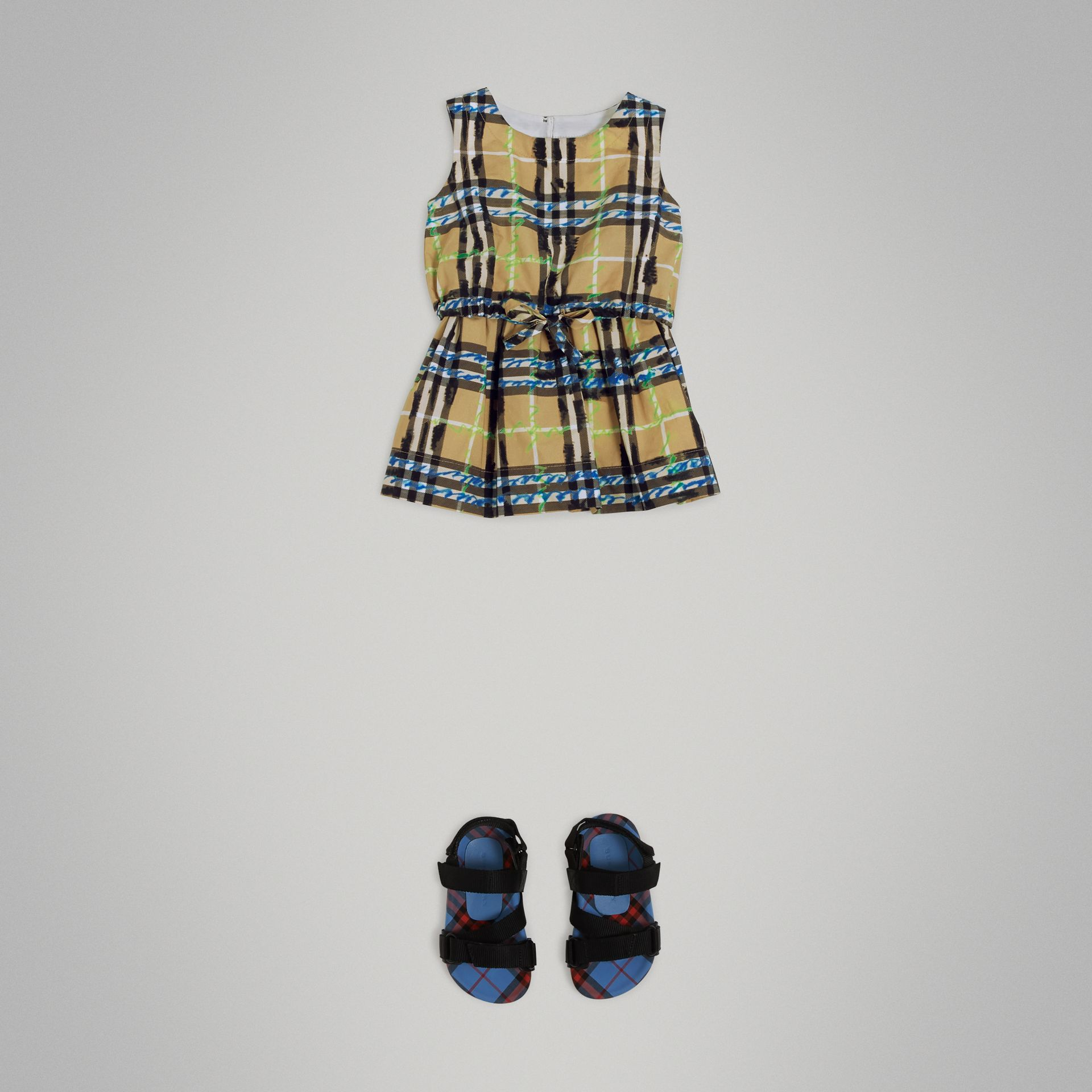 Scribble Check Print Cotton Drawcord Dress in Bright Blue - Children | Burberry Australia - gallery image 2
