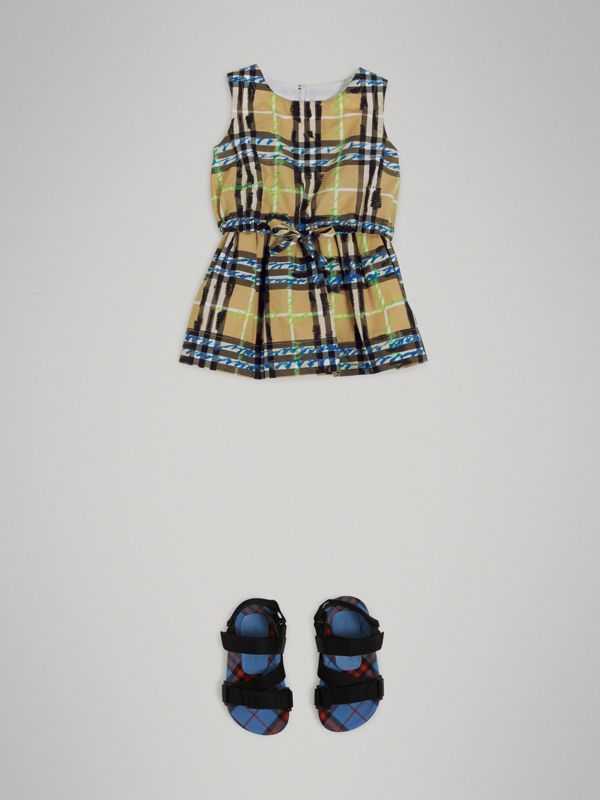 Scribble Check Print Cotton Drawcord Dress in Bright Blue - Children | Burberry - cell image 2