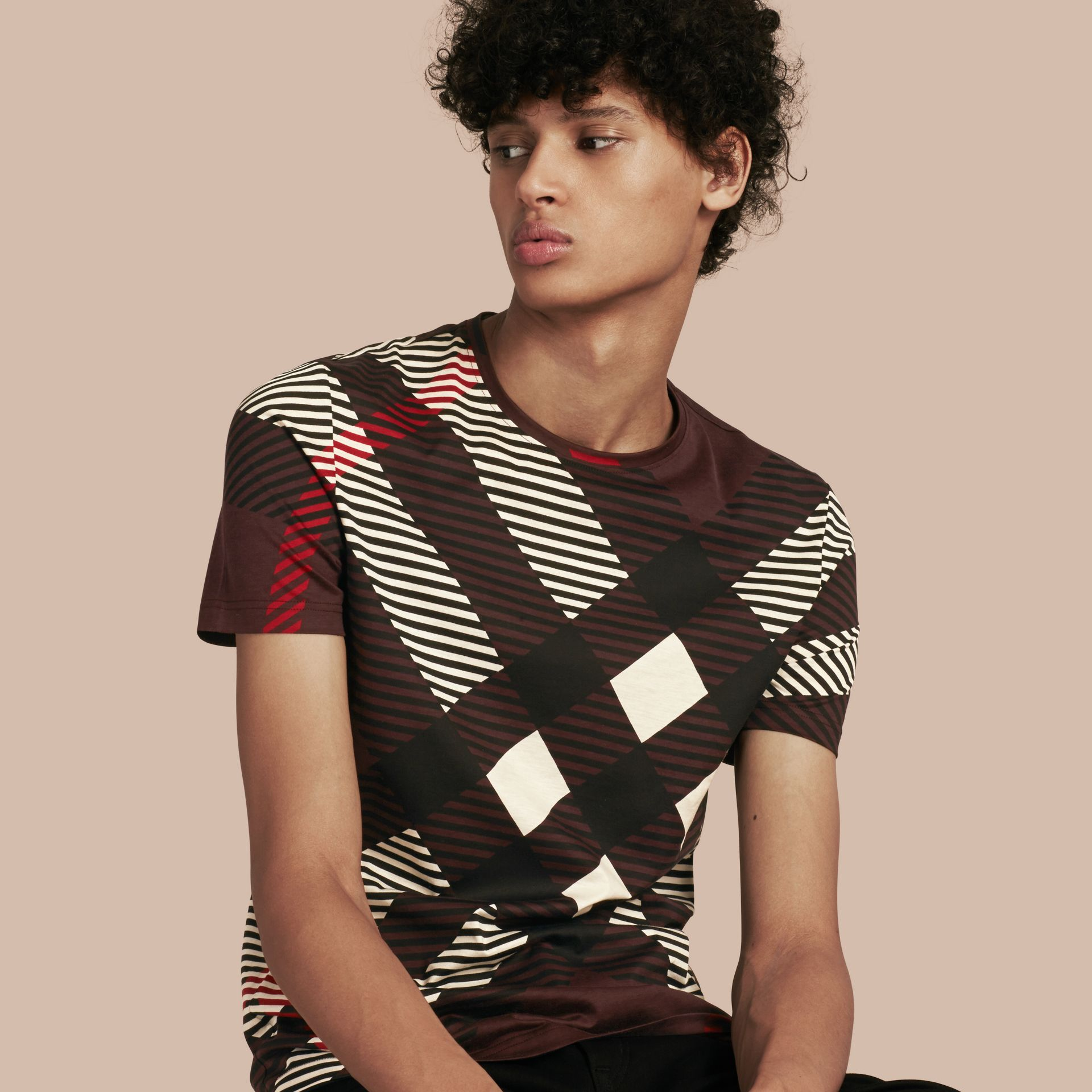 Deep claret Abstract Check Cotton T-Shirt - gallery image 1