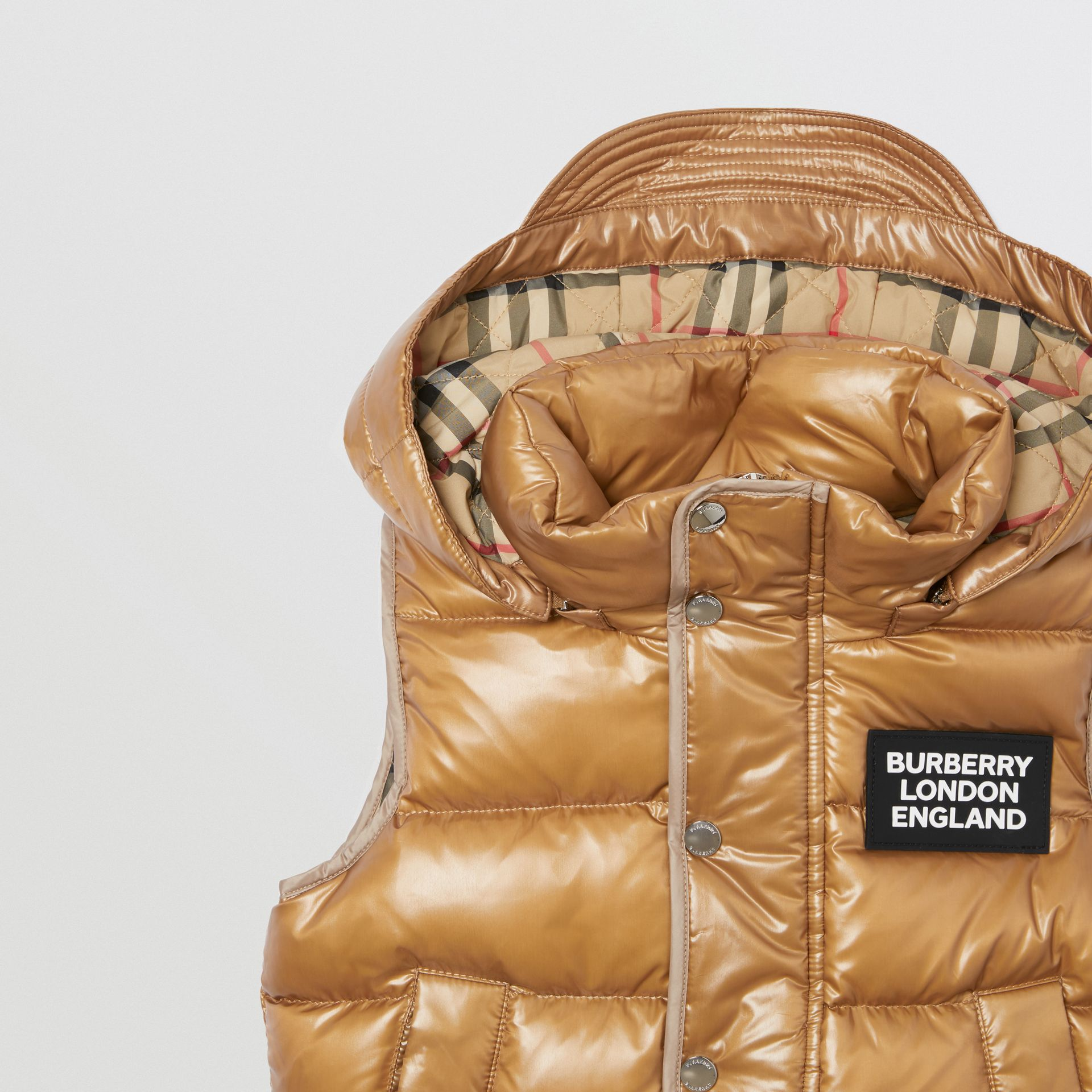 Detachable Hood Nylon Puffer Gilet in Camel | Burberry - gallery image 5