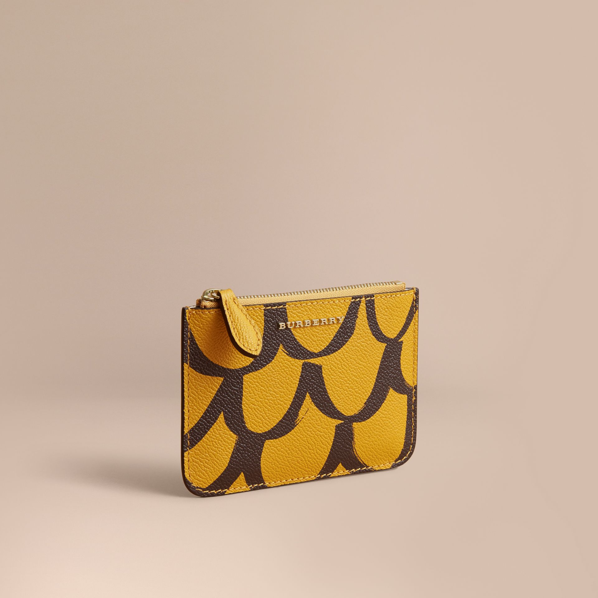 Trompe L'oeil Print Leather Pouch in Bright Straw - Women | Burberry - gallery image 1
