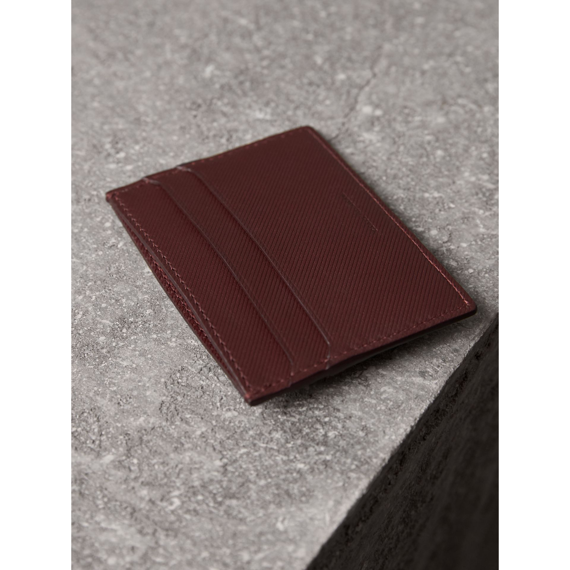 Trench Leather Card Case in Wine - Men | Burberry - gallery image 3