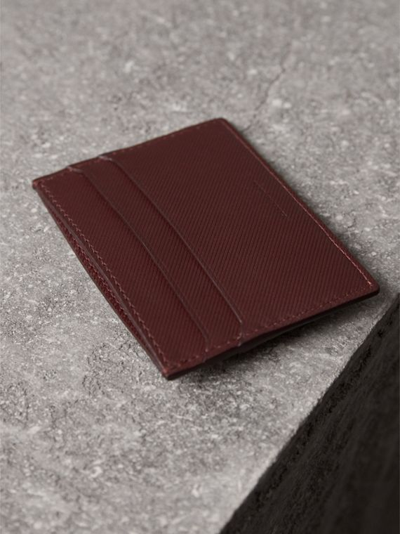 Trench Leather Card Case in Wine - Men | Burberry Canada - cell image 2