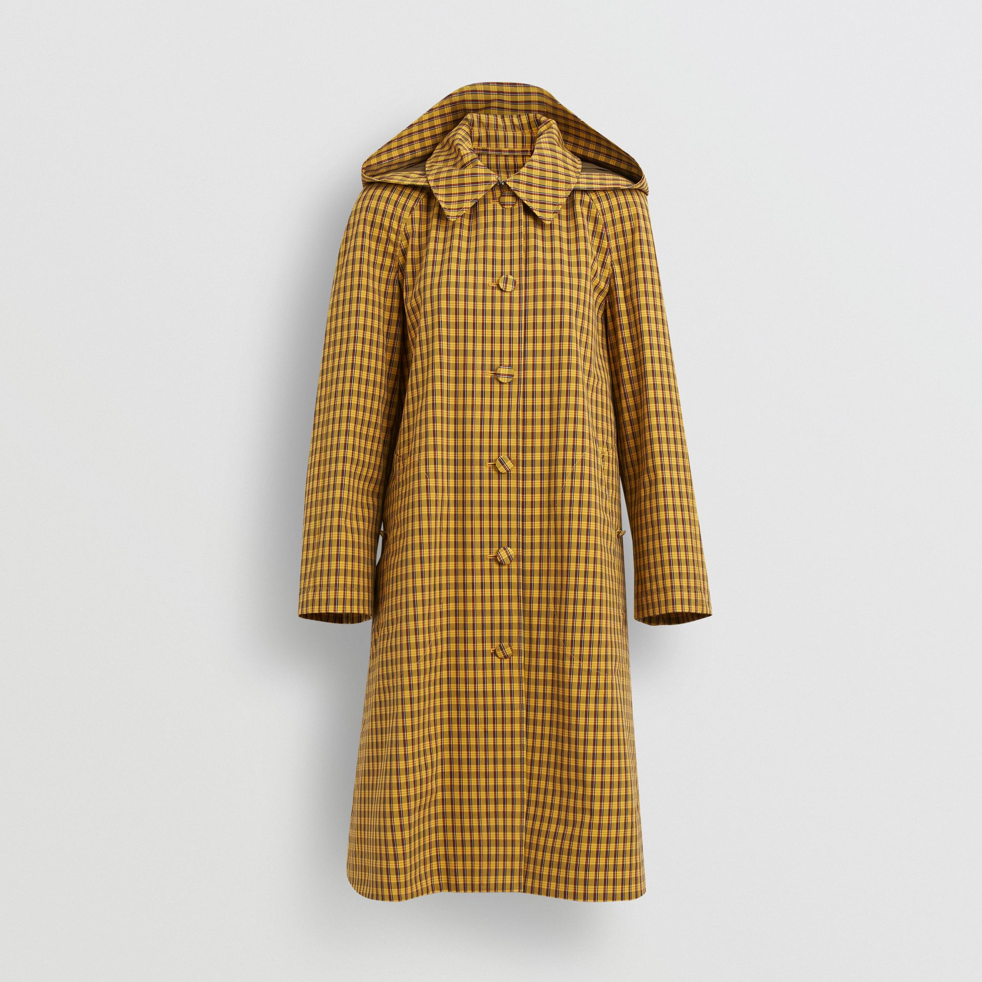 Detachable Hood Check Cotton Car Coat in Ochre Yellow - Women | Burberry - gallery image 3