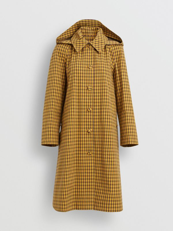 Detachable Hood Check Cotton Car Coat in Ochre Yellow - Women | Burberry - cell image 3