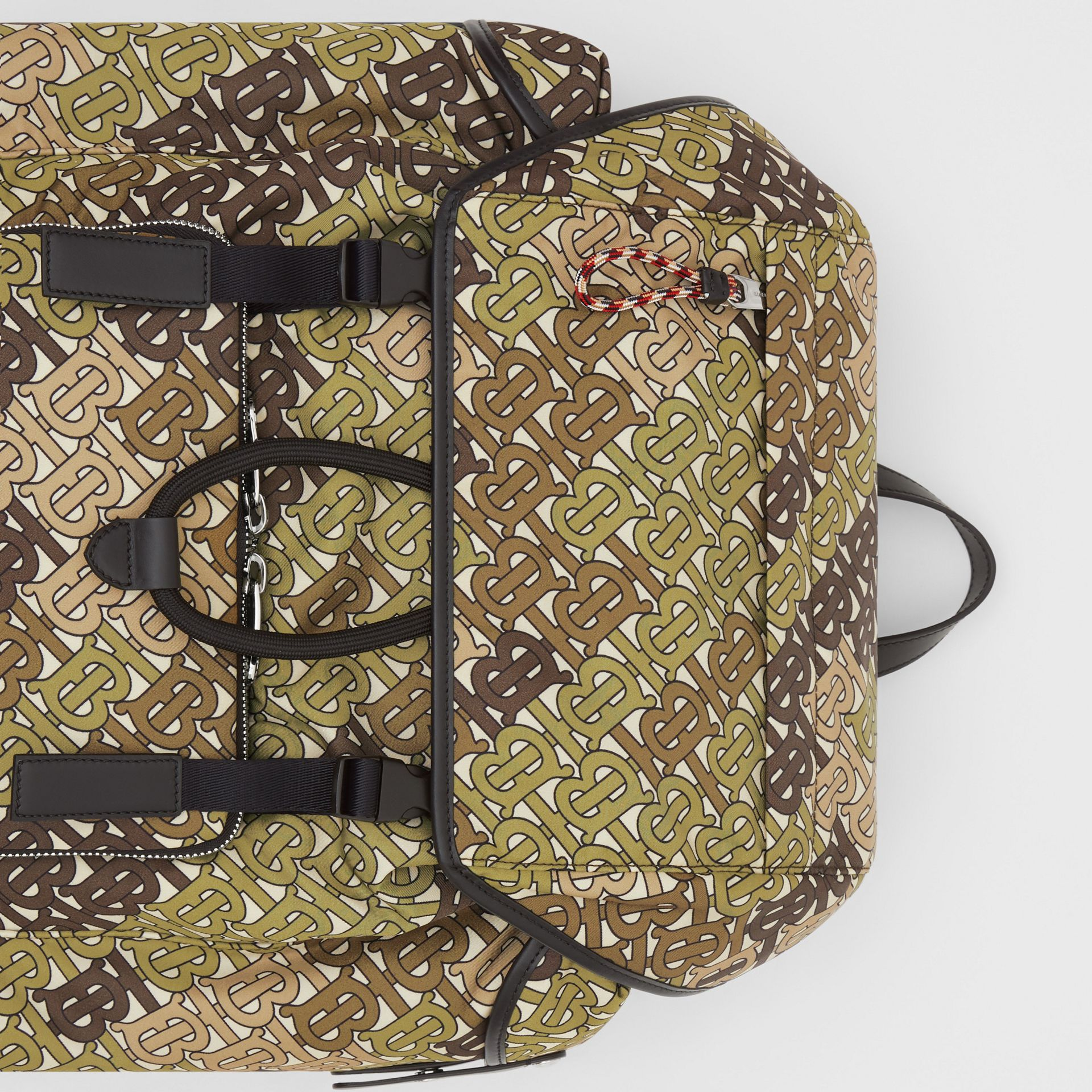 Medium Monogram Print Nylon Backpack in Khaki Green - Men | Burberry Canada - gallery image 1