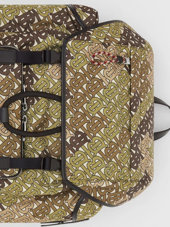 Medium Monogram Print Nylon Backpack in Khaki Green - Men | Burberry Singapore - cell image 1