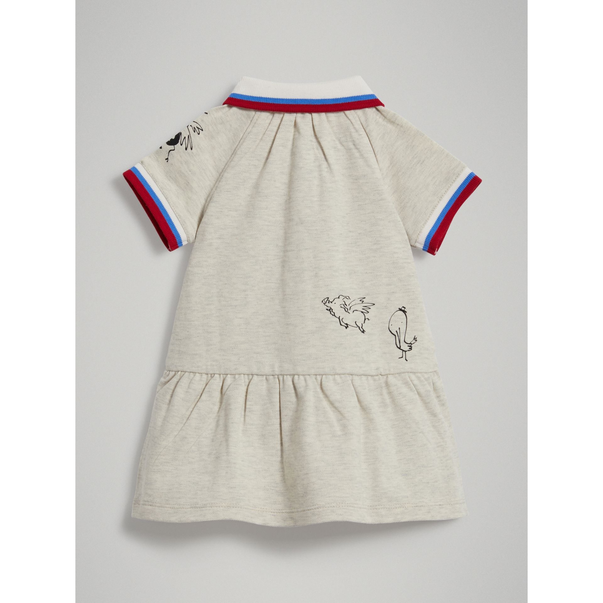 Stretch Cotton Polo Dress in White Melange - Children | Burberry - gallery image 3