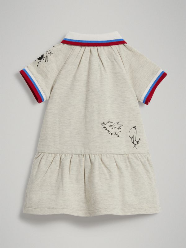Stretch Cotton Polo Dress in White Melange - Children | Burberry - cell image 3