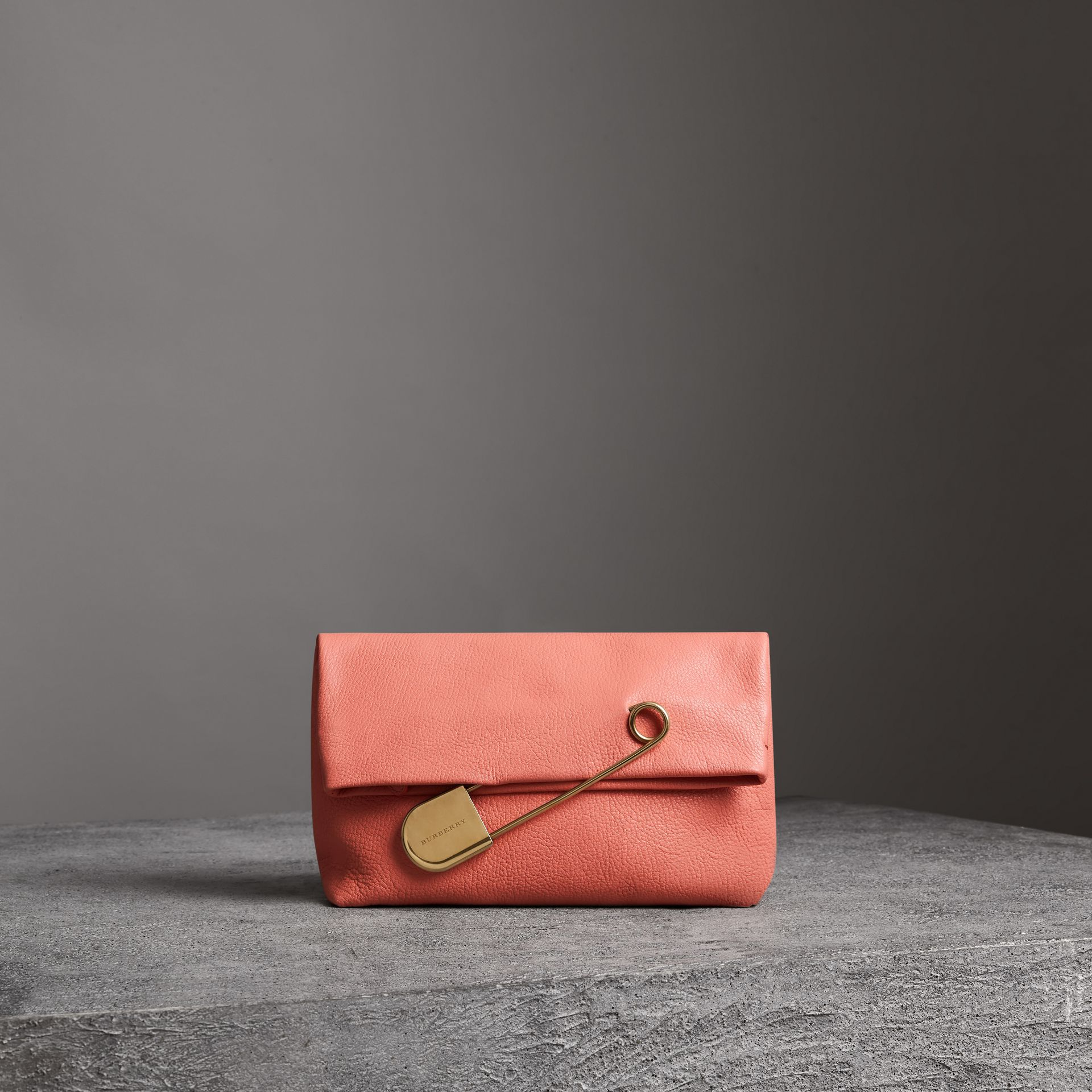 The Medium Pin Clutch in Leather in Bright Coral Pink - Women | Burberry - gallery image 0
