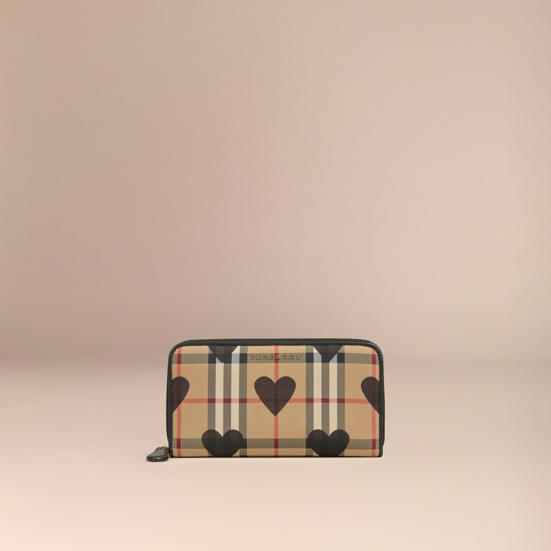 Black Horseferry Check and Hearts Ziparound Wallet Black - gallery image 3