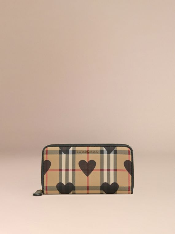 Black Horseferry Check and Hearts Ziparound Wallet Black - cell image 2