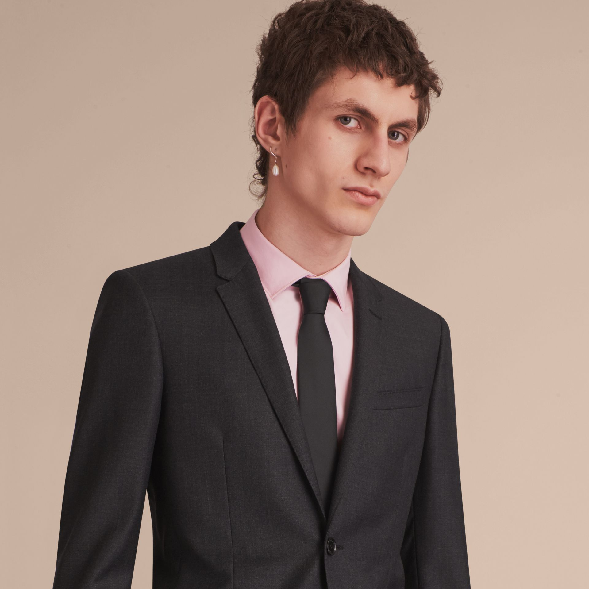 Slim Cut Silk Twill Tie in Black - Men | Burberry - gallery image 3