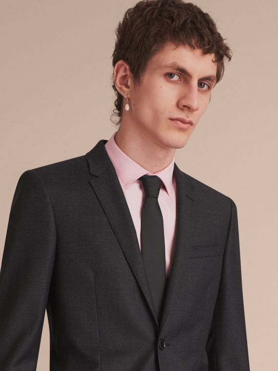 Slim Cut Silk Twill Tie in Black - Men | Burberry - cell image 2
