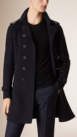 Leather Trim Cashmere Wool Trench Coat