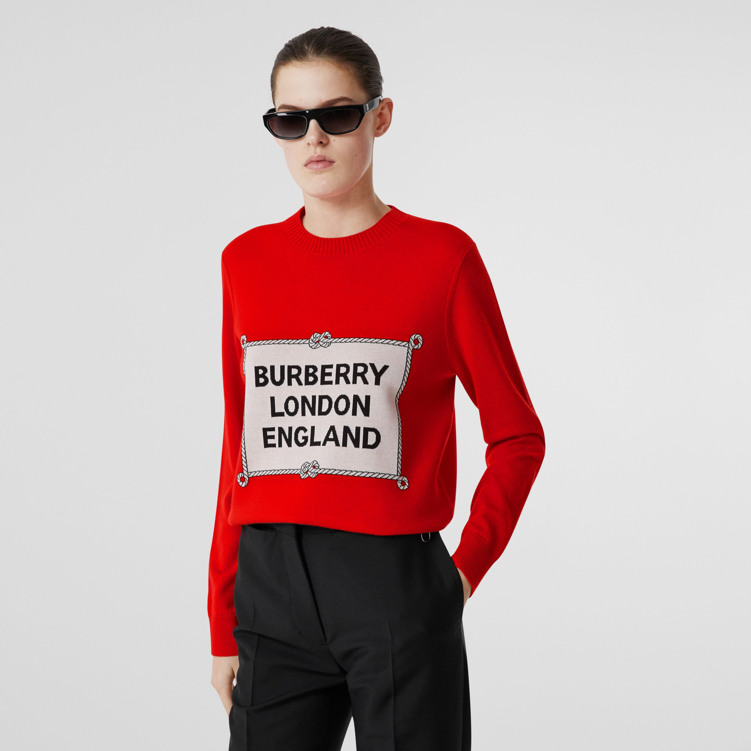 Rigging Intarsia Merino Wool Sweater in Bright Red - Women | Burberry Canada - 1