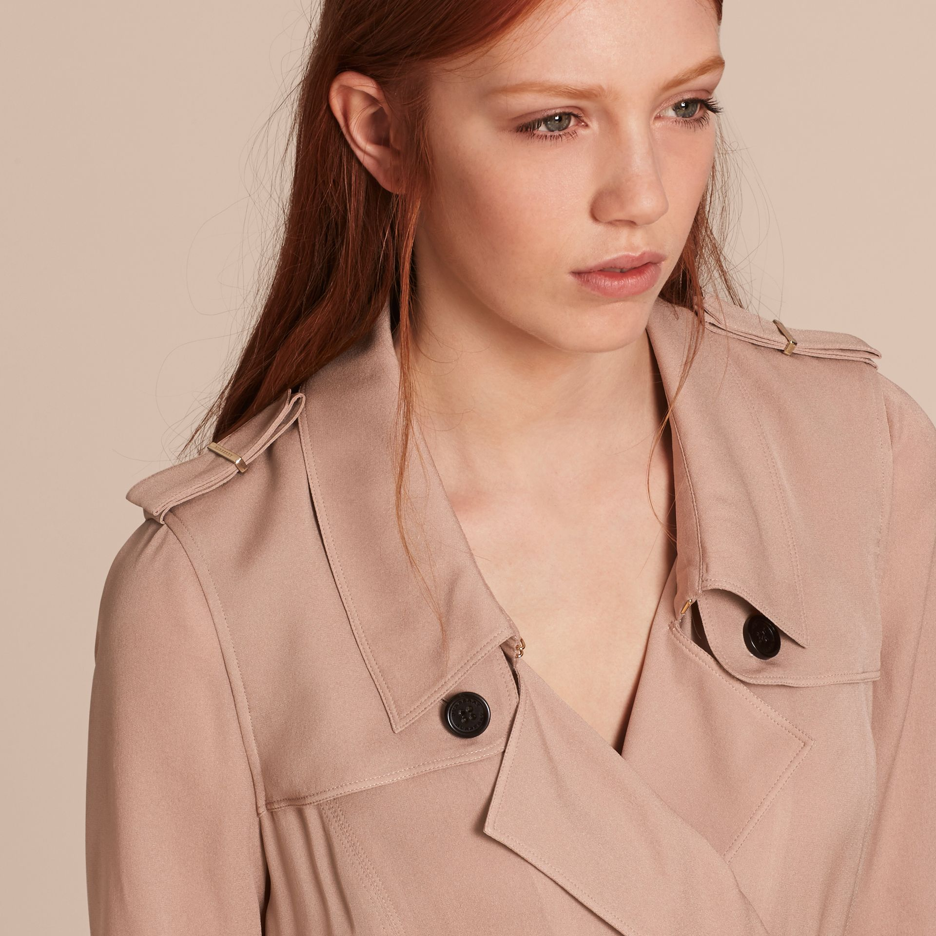 Silk Trench Dress in Nude - Women | Burberry - gallery image 6