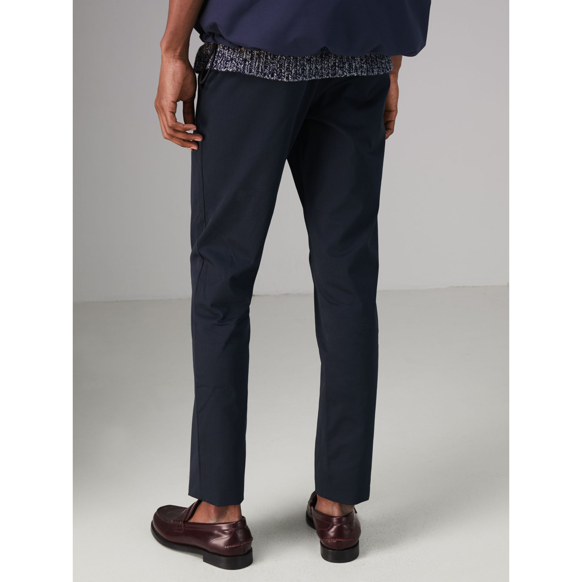 Slim Fit Cotton Chinos in Navy - Men | Burberry Singapore - gallery image 2