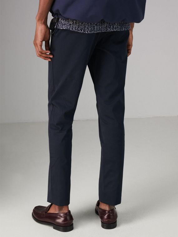 Slim Fit Cotton Chinos in Navy - Men | Burberry - cell image 2