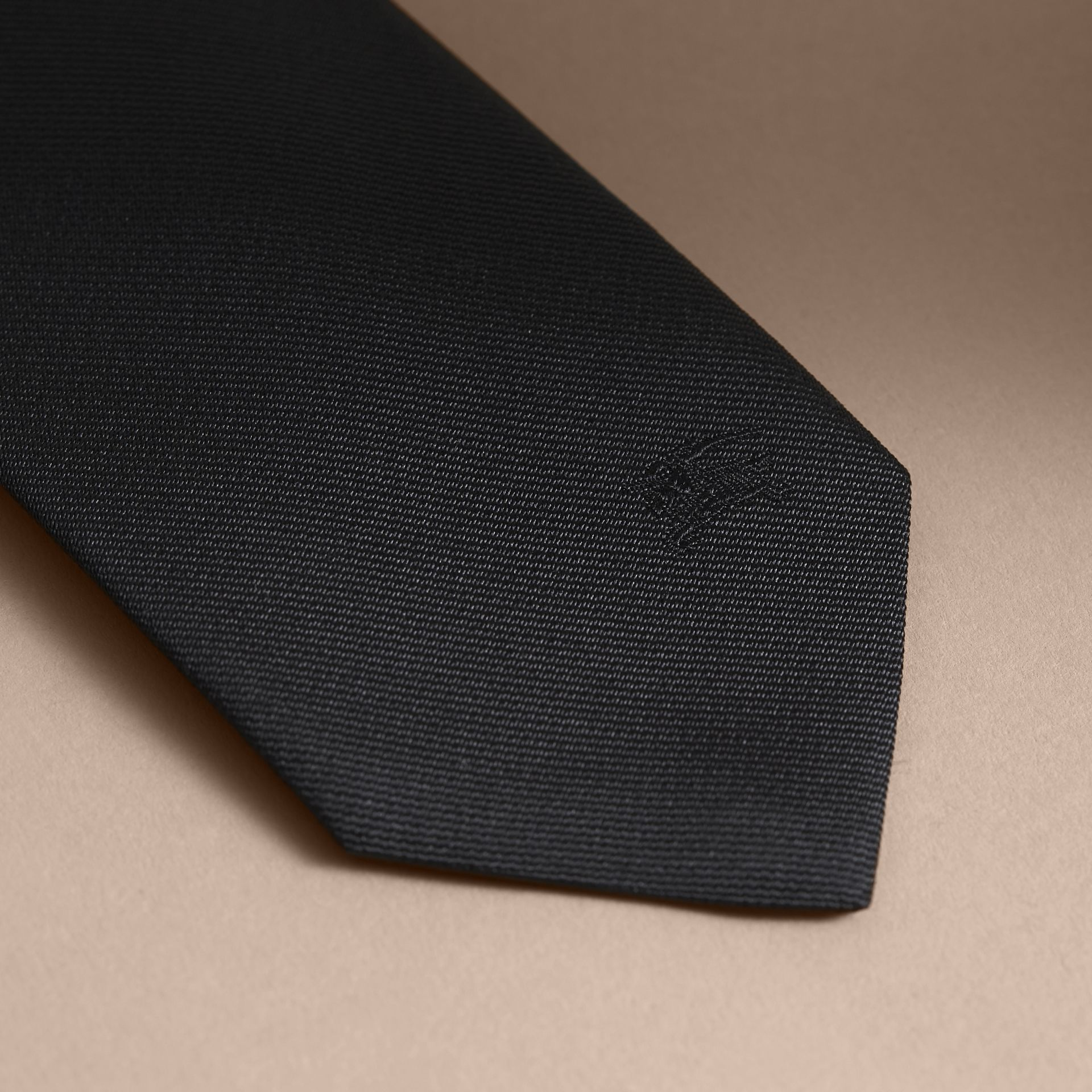 Slim Cut Silk Twill Tie in Black - Men | Burberry - gallery image 2