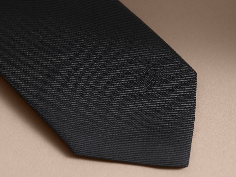 Slim Cut Silk Twill Tie Black - cell image 1