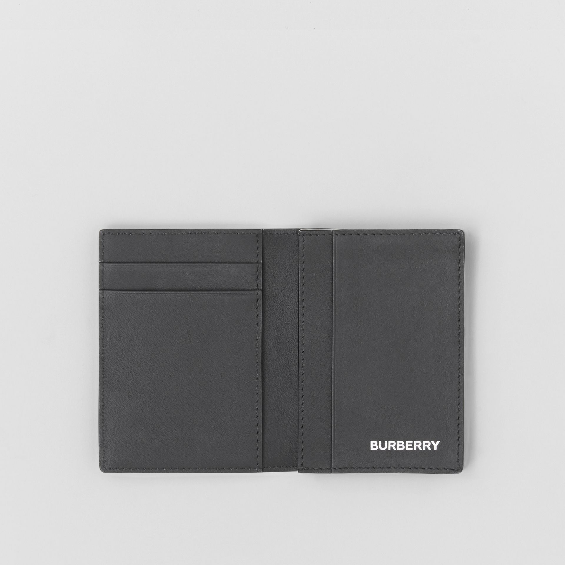 London Check and Leather Folding Card Case in Dark Charcoal - Men | Burberry United Kingdom - gallery image 2