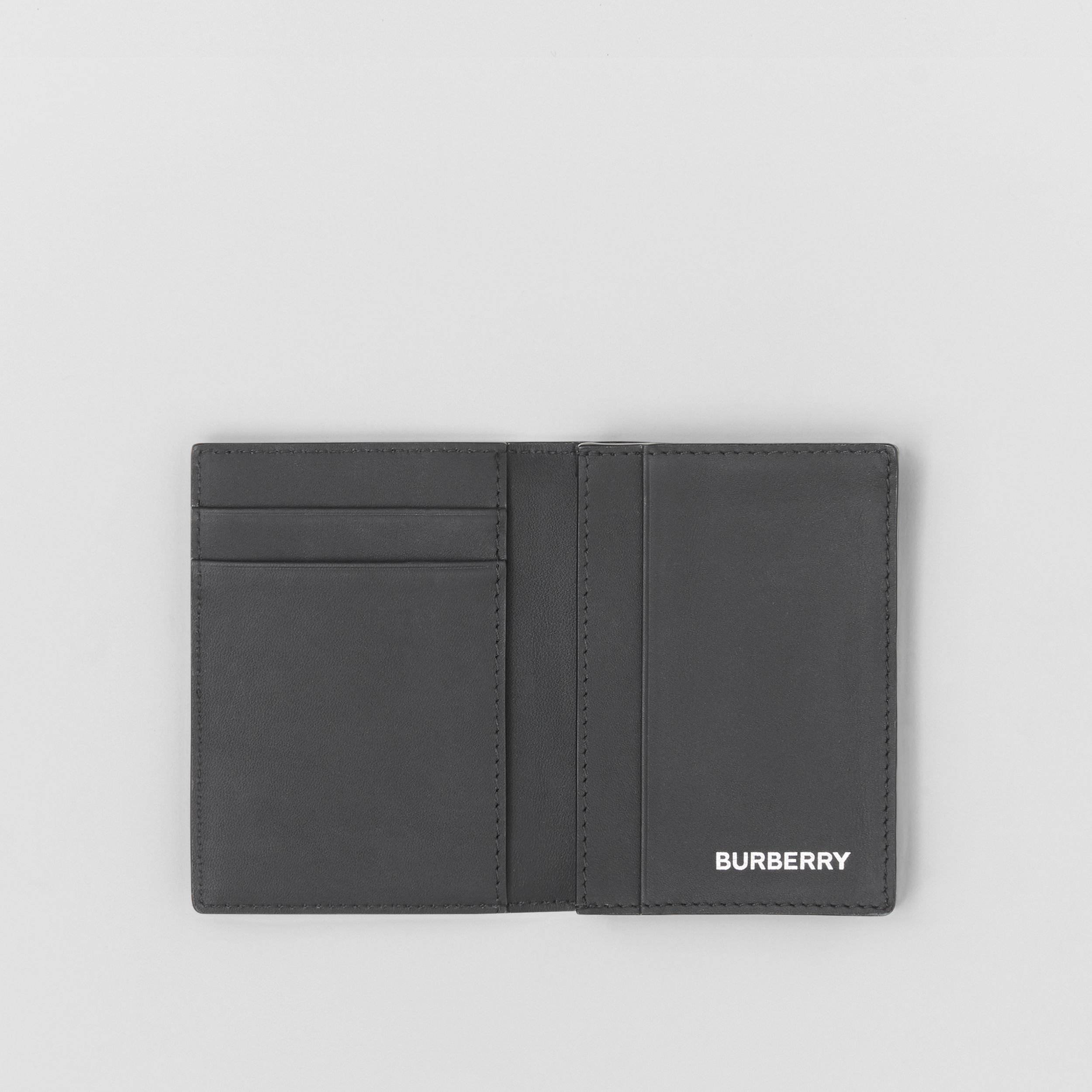 London Check and Leather Folding Card Case in Dark Charcoal - Men | Burberry - 3