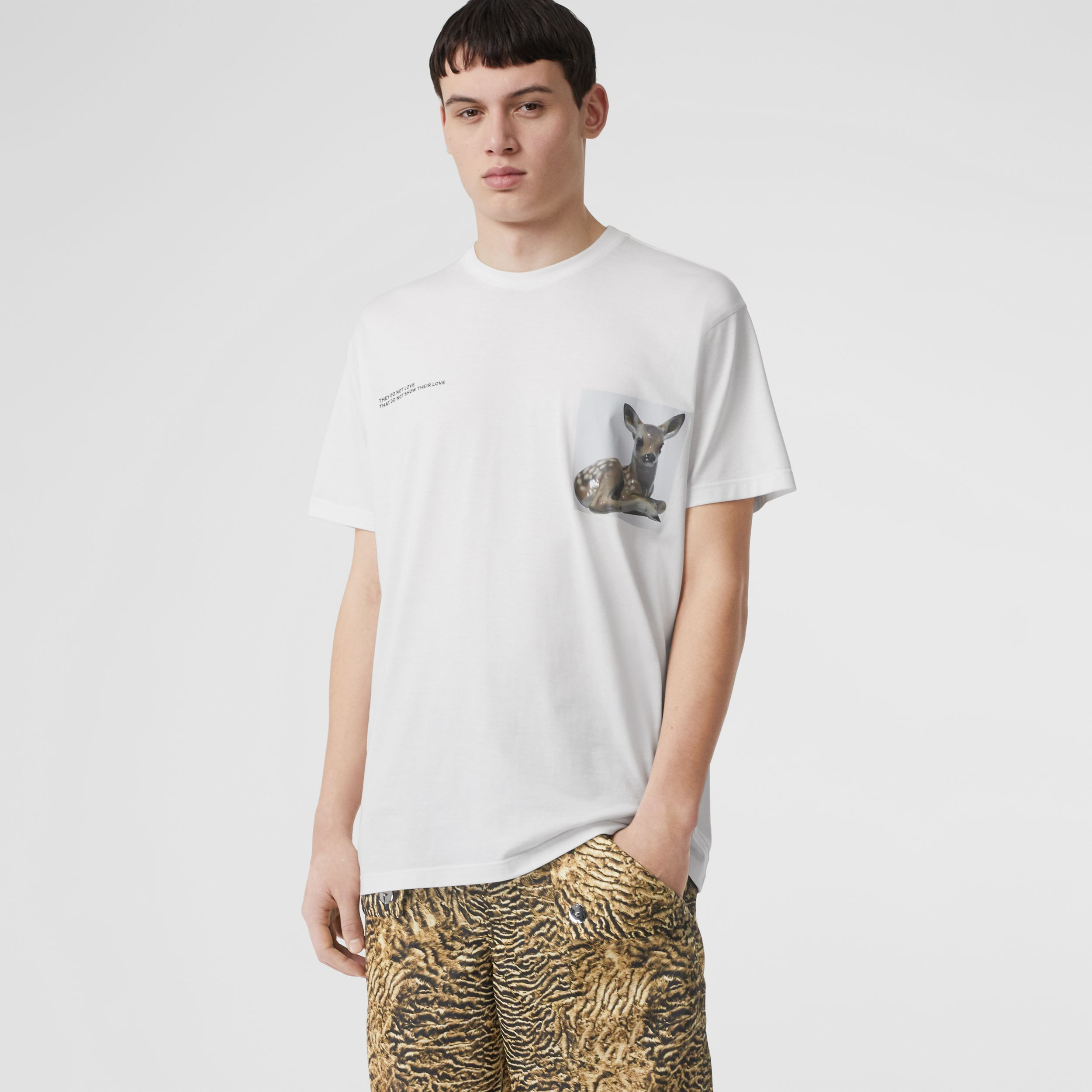 Montage Print Cotton Oversized T-shirt in Optic White - Men | Burberry Singapore - 1