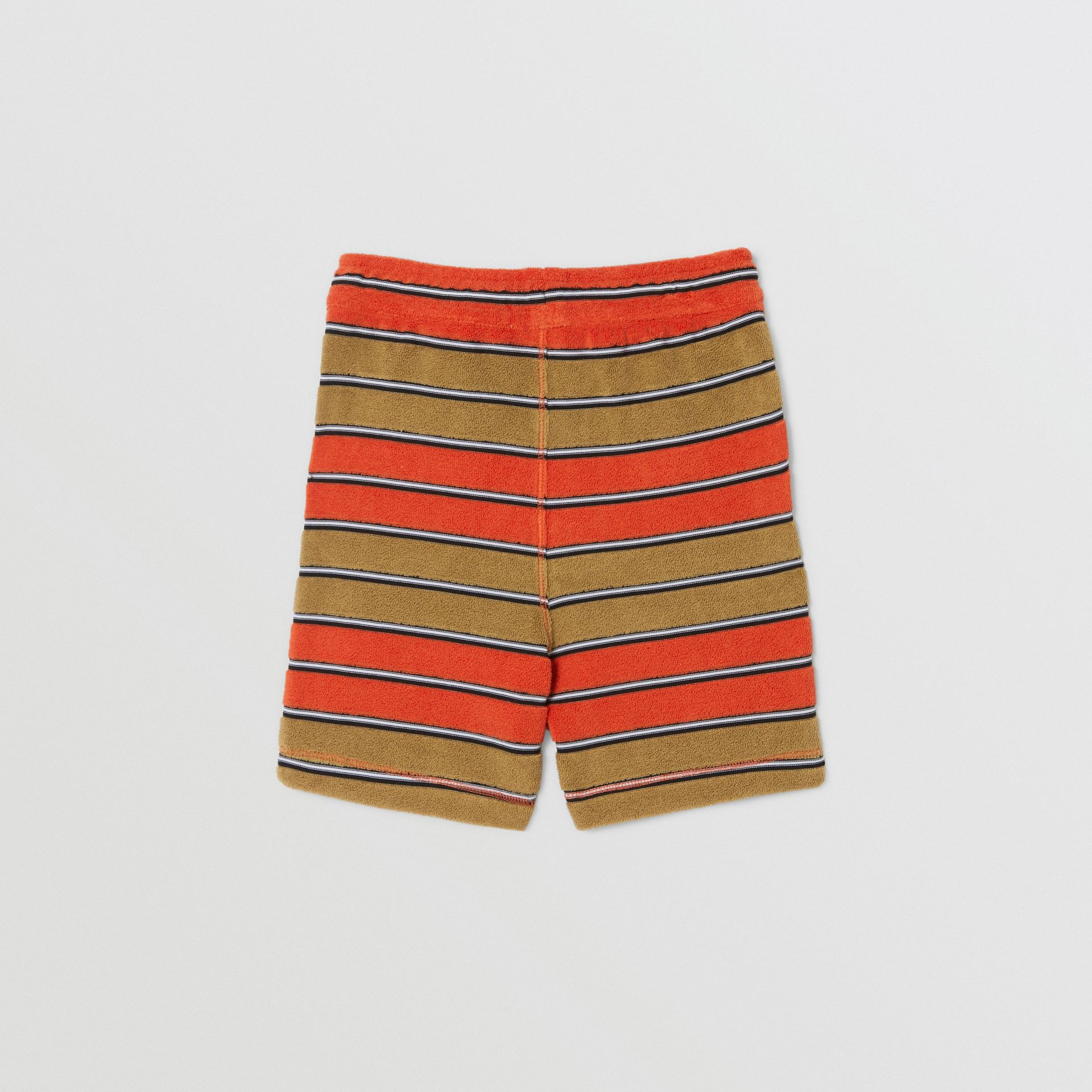 Logo Appliqué Striped Towelling Shorts in Vermilion Red - Children | Burberry Hong Kong S.A.R - gallery image 3